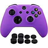Pandaren Silicone rubber cover skin case anti-slip Customize for Xbox One/S/X controller x 1 Purple + FPS PRO extra height thumb grips x 8