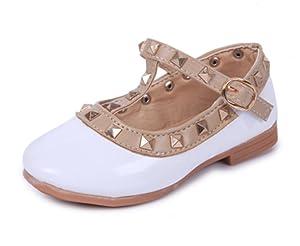 DADAWEN Girl's Rivet Princess Dress Oxford Shoes White US Size 10.5 M Little Kid