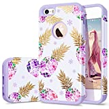 iPhone 5s case Purple,iPhone 5 case Pineapple,Fingic iPhone SE case,CUTE SUMMER Pineapple 2 IN 1 Case Hard PC&Soft Rubber ShockProof Protective Case Cover for APPLE iPhone SE / 5S / 5,Flower Pineapple