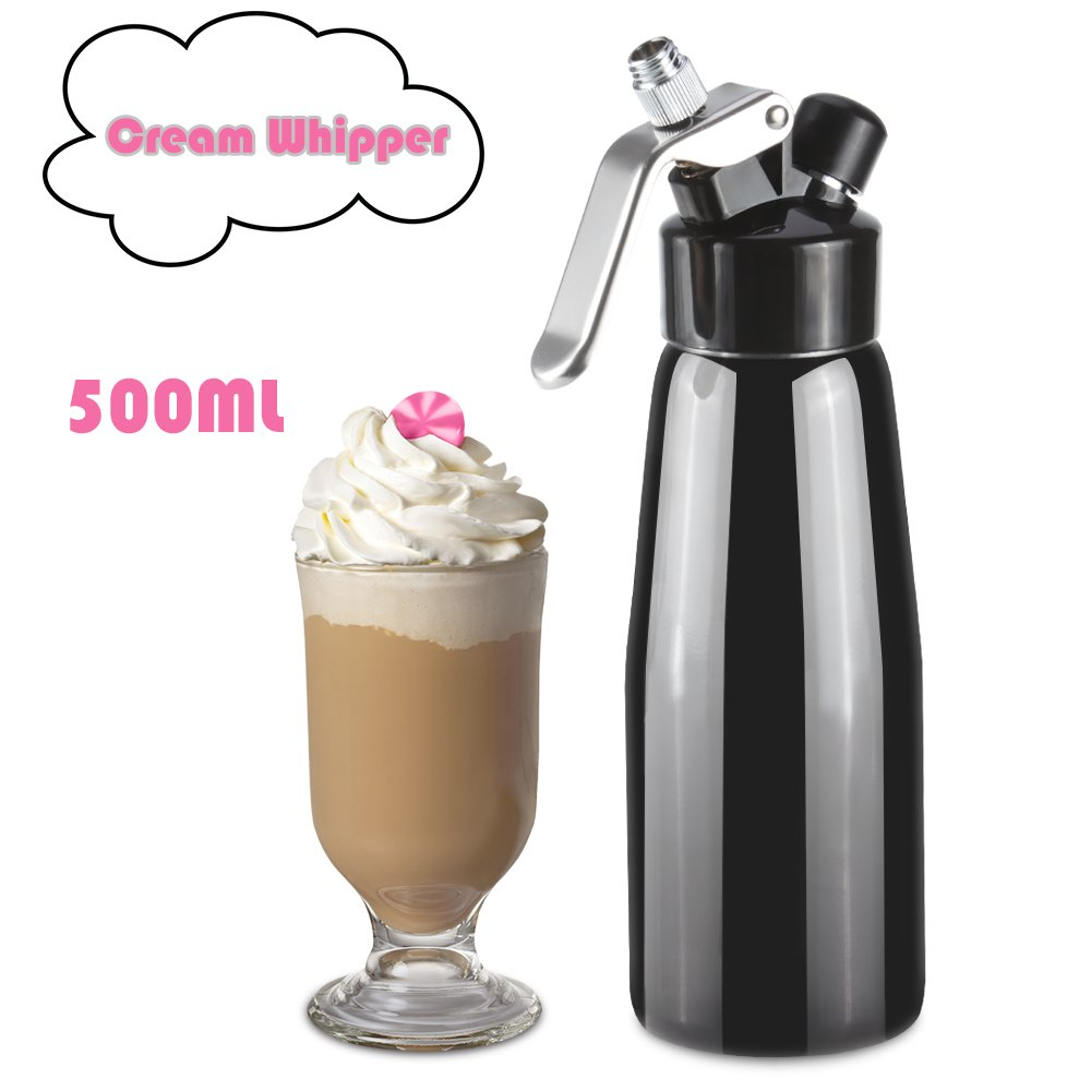 Professional Cream Whipper,Vingtank 500ML Stainless Steel Whipped Cream Dispenser Leak-Free ,Large Siphon with 3 Decorator Nozzles, Cleaning Brush, Handwash for Home Bakeshop Restaurant (Black)