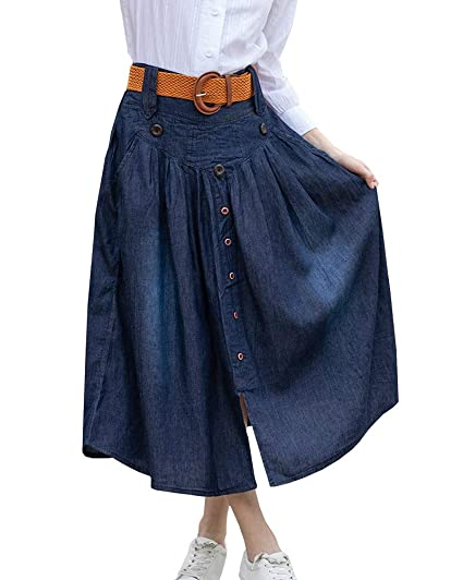 Shengwan Falda Vaquera Larga Mujer Cintura Elastica Plisada Falda ...