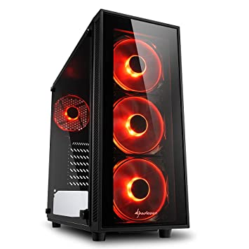 Sharkoon TG4 - Caja de Ordenador, PC Gaming, Semitorre ATX, Negro/Rojo