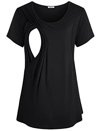 2b487654f Baikea Women s Short Sleeve Maternity Layered Nursing Tops for Breastfeeding  Black