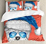 Yorkie Duvet Cover Set Queen Size by Ambesonne, Terrier with a Blue Santa Hat and Mirror Aviator Glasses Fun Hand Drawn Animal, Decorative 3 Piece Bedding Set with 2 Pillow Shams, Coral White Blue