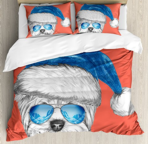 Yorkie King Size Duvet Cover Set by Ambesonne, Terrier with a Blue Santa Hat and Mirror Aviator Glasses Fun Hand Drawn Animal, Decorative 3 Piece Bedding Set with 2 Pillow Shams, Coral White Blue by Ambesonne