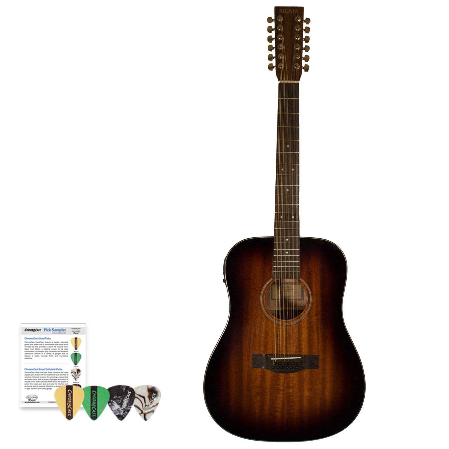 Sigma Guitars Mahogany Dreadnought 12-String Acoustic-Electric Guitar with ChromaCast 4 Pick Sampler, Shadowburst, Right Handed, Kit 1 (SD15ESHB-12) by Sigma