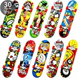 30 Pieces Mini Finger Skateboards Fingerboard Finger Skate Penny Board Toy Fingertip Movement for Kids Adults Birthday Gifts Party, Random Pattern