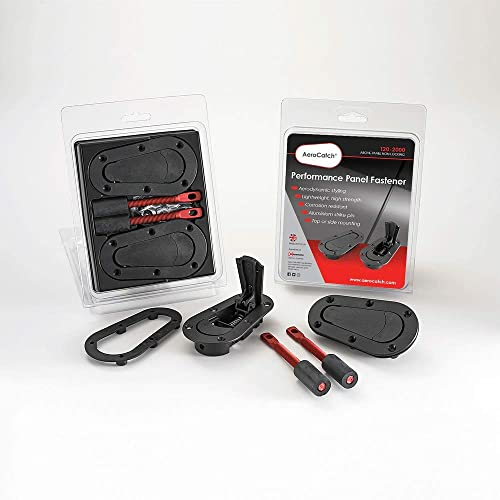 AeroCatch Plus Flush Hood Latch and Pin Kit - Black - Now includes Molded Fixing Plates