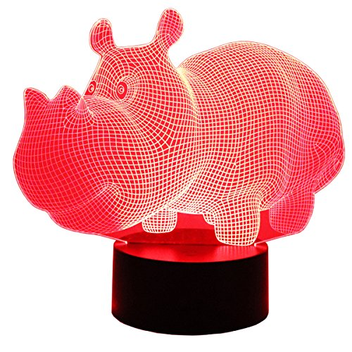 Hguangs 3D Lamp Hippo Shape Night Lamp 3D Optical Illusion Night Light Desk Table Light 7 Colors Changing Touch Control Gift for Christmas Birthday Valentine's Day Kids Children Girl and Boy by Hguangs