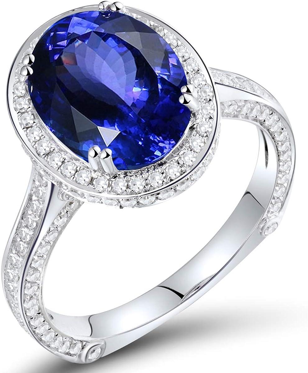 Lovely Genuine Tanzanite Ring 14KT Solid Yellow-Gold Tanzanite Diamond Ring R1501 Birthday Wife Mom Valentine Anniversary Gift