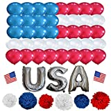 4th Of July Decoration set for America Independence Day 60 Balloon 6 Pom Poms USA Letter Balloons 2 American hand Flags Patriotic National Day Blue Red and White Decore