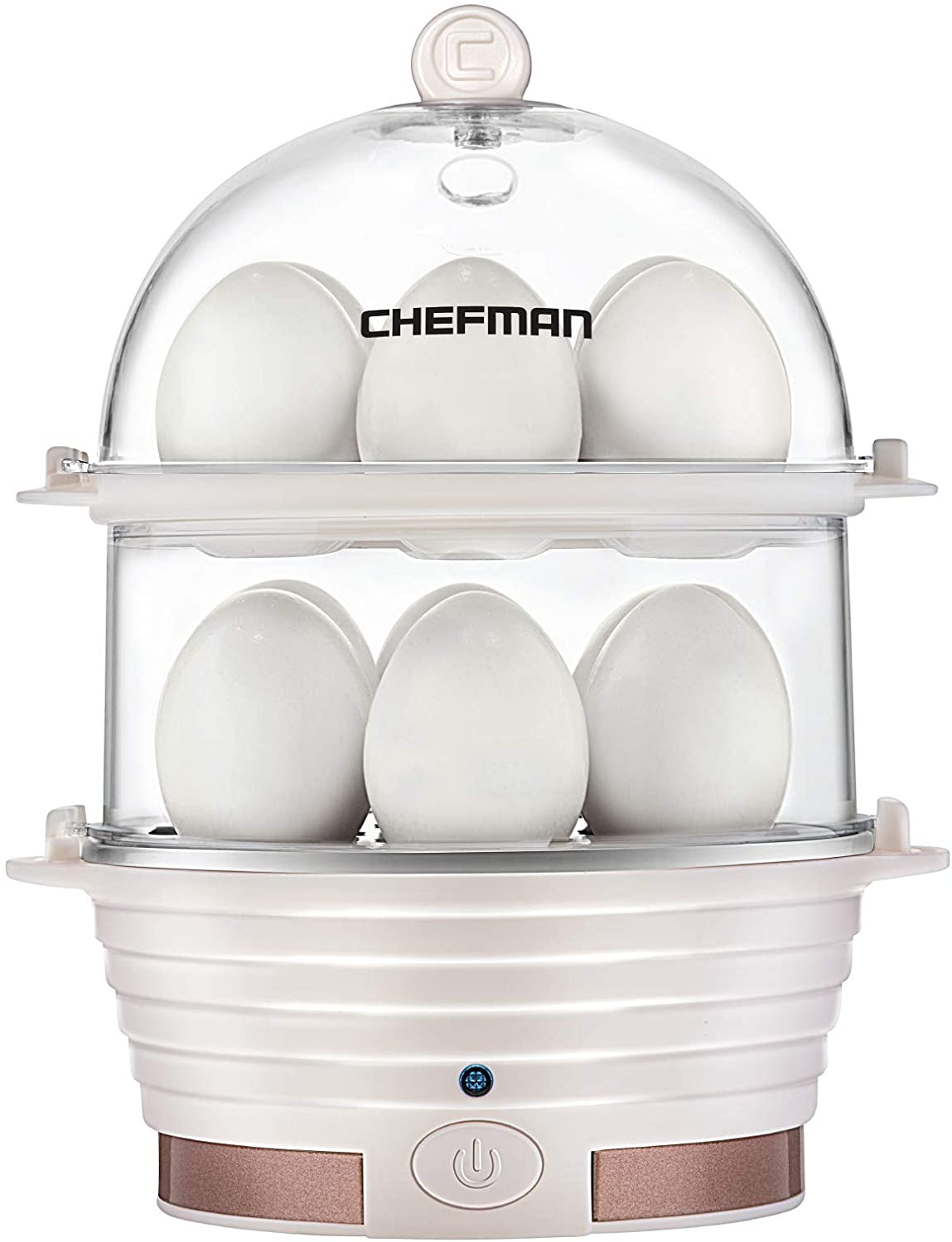 Chefman Electric Egg Cooker Boiler, Rapid Egg-Maker & Poacher, Food & Vegetable Steamer, Quickly Makes 12 Eggs, Hard or Soft Boiled, Poaching and Omelet Trays Included, Ready Signal, BPA-Free, Ivory