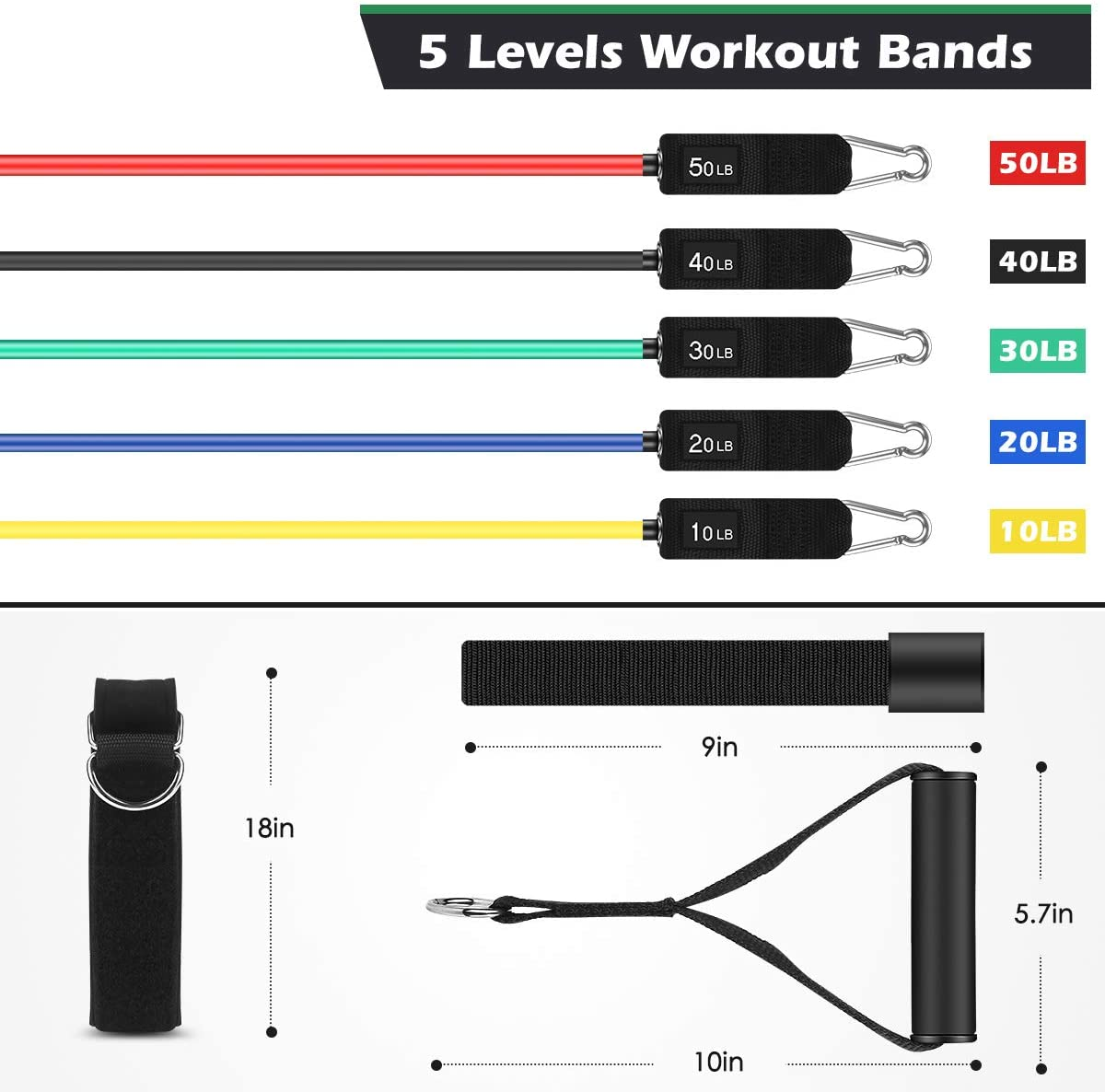 Whatafit Resistance Bands Set (16pcs), Exercise Bands with Door Anchor, Handles, Carry Bag, Legs Ankle Straps for Resistance Training, Physical Therapy, Home Workouts (Set3) : Sports & Outdoors