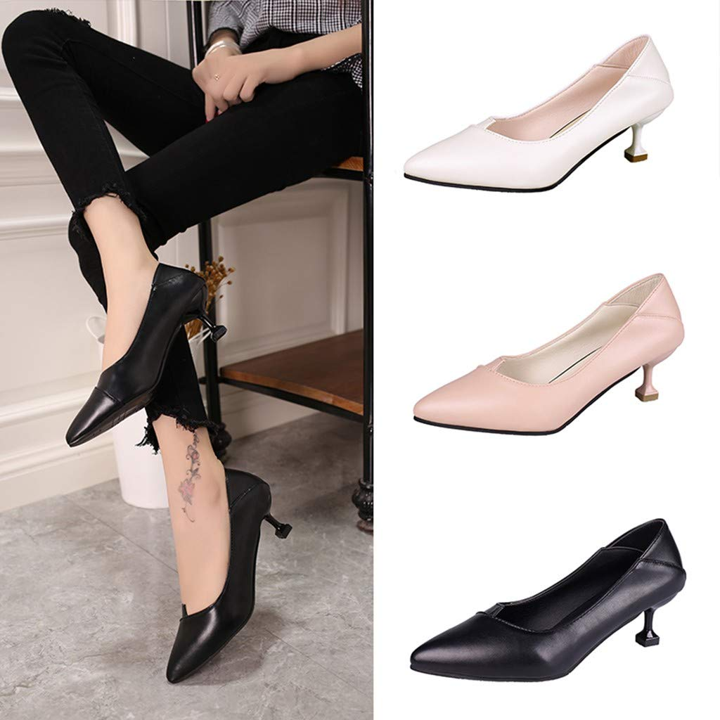 Women Ladies Pumps Shoes Single Shoes Middle Heels Pointed Head Low Thin Heels for Party Office Shoes