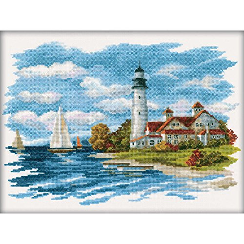 Rto 14 Count Seaside Beauty Counted Cross Stitch Kit  13 5 By 9 75 Inch