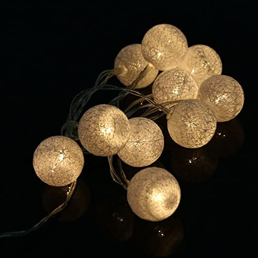 Amazon Com Led String Lights 4 2ft Cotton Ball Lights 10led Lights For Xmas Party Wedding Diy Decorations Home Kitchen