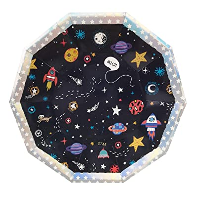 Cieovo 24 Count Outer Space Disposable Plates Space Solar System Rocket Planet Party Paper Dinner Dessert Plates for Baby Shower Kids Space Themed Birthday Party Supplies: Kitchen & Dining