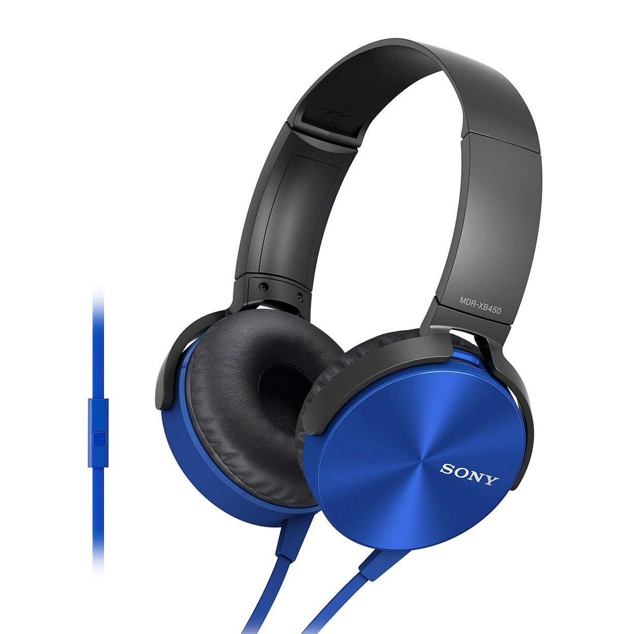 Renewed  Sony Extra Bass MDR XB450AP On Ear Headphones with Mic  Blue  On Ear