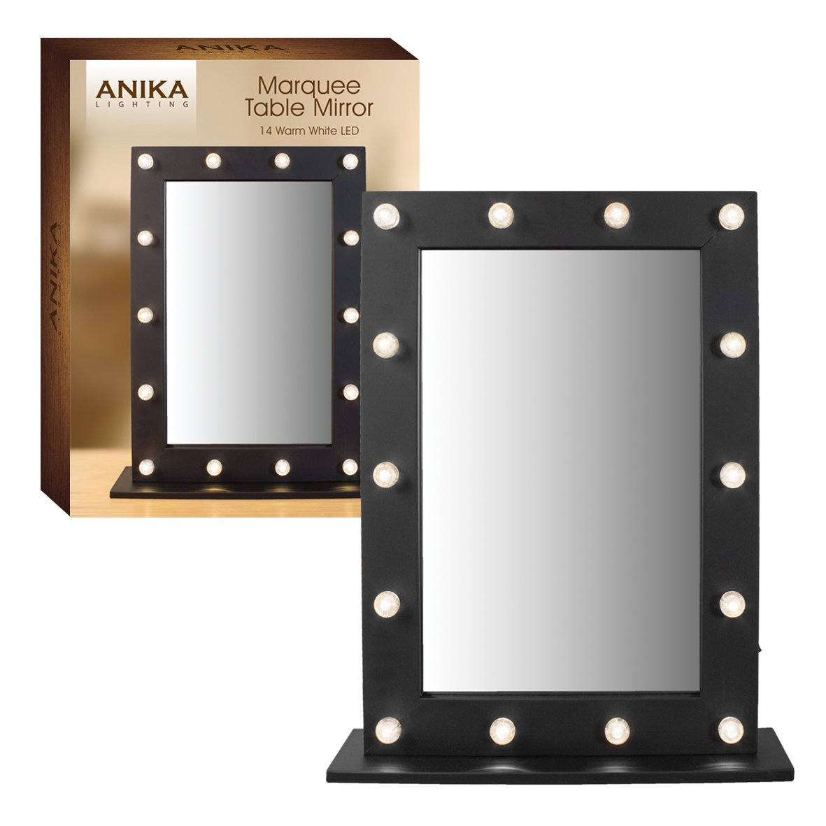 Anika Battery Operated Free Standing LED Marquee Mirror, Black Benross 62630
