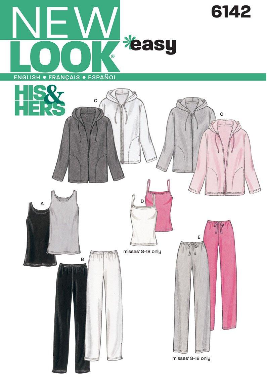 New Look 6142 - Patrón de costura para tops, camisetas y pantalones ...