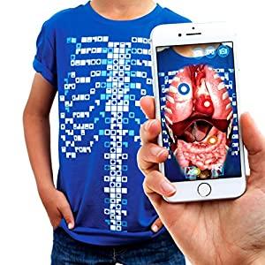 Virtuali-Tee | Educational Augmented Reality T-Shirt | Children: XS, Blue