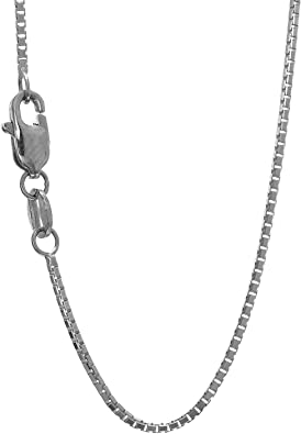 """Real 10K Solid White Or Yellow Gold Box Chain Necklace 0.8mm 16/""""-24/"""" Inch"""