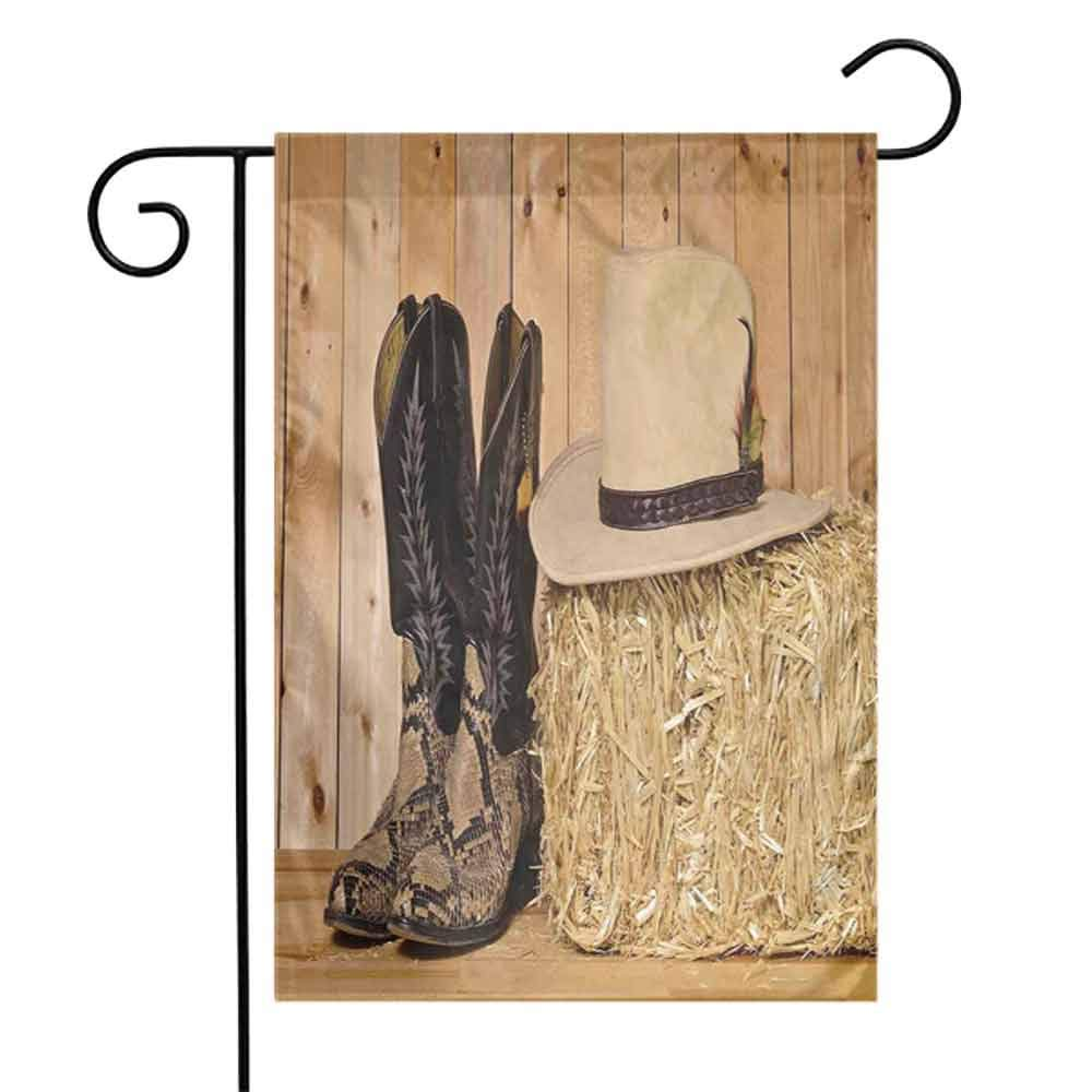Western Decor Fall Scarecrow Harvest Decorative FlagSnake Skin Cowboy Boots Timber Planks in Barn with Hay Old West Austin Texas Autumn Pumpkin Garden Yard Decorations W12 x L18 inch Cream Brown