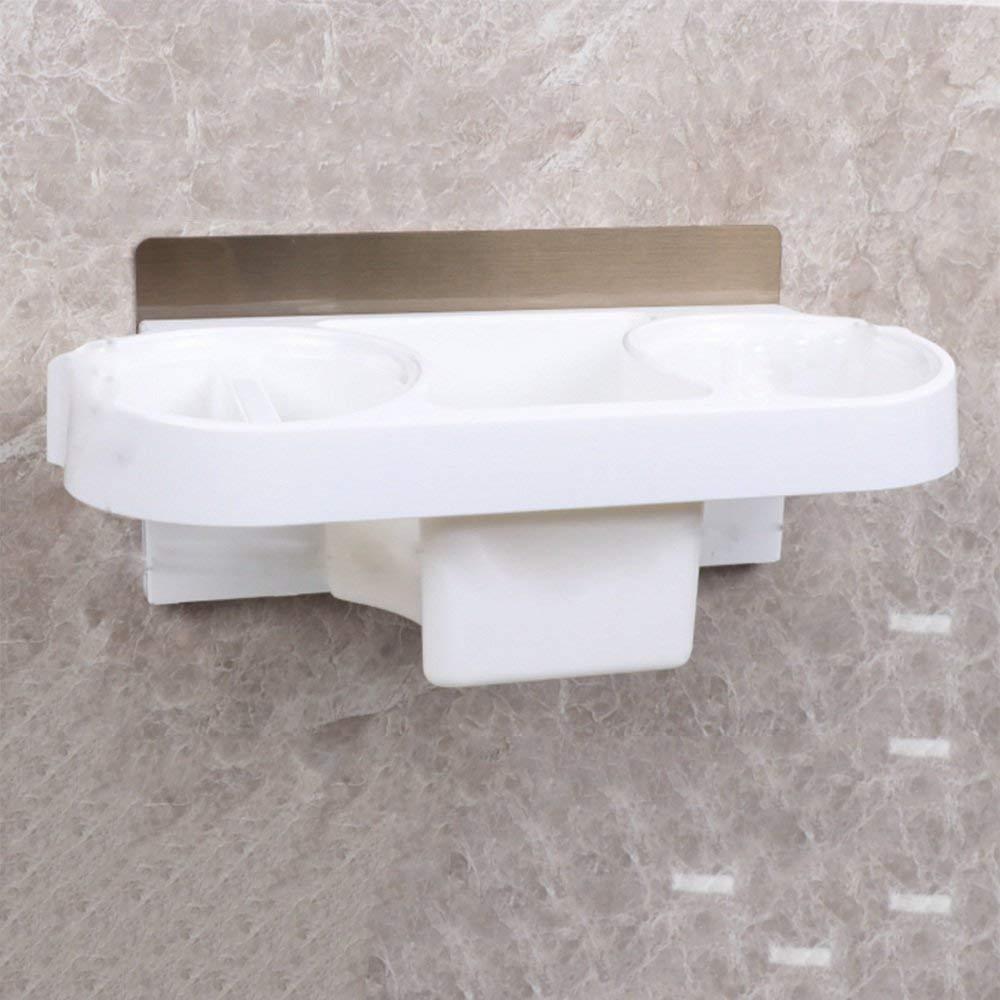 GFF 棚バスルームヘアドライヤー棚ラックトイレの空き穴なし収納棚ウォールヘアドライヤー収納ラック収納ラック(カラー:ホワイト) B07S51XZLK White