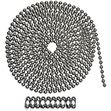 10 Foot Length Ball Chain, #10 Size, Stainless Steel, & 10 Matching 'B' Couplings