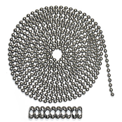 Ball Chain Suppliers (10 Foot Length Ball Chain, #10 Size, Stainless Steel, & 10 Matching 'B' Couplings)
