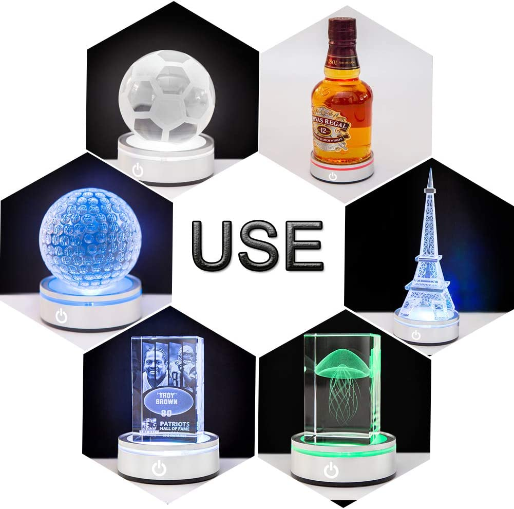 IFOLAINA LED Light Base Multicolor Round Show Stand Display Plate for 3D Crystal Glass Art with Sensitive Touch Switch