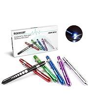 RISEMART 6PCS Diagnostic Medical Penlight Reusable LED Pen Light with Pupil Gauge for Nurses Doctors with Pocket Clip(Multicolor)