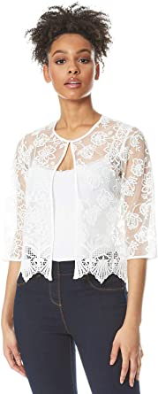 Ladies Spring Summer Smart Evening Special Occasion Lace Detail Edge to Edge 3//4 Sleeve Cover Up Light Bolero Shrug Roman Originals Women Short Floral Embroidered Jacket
