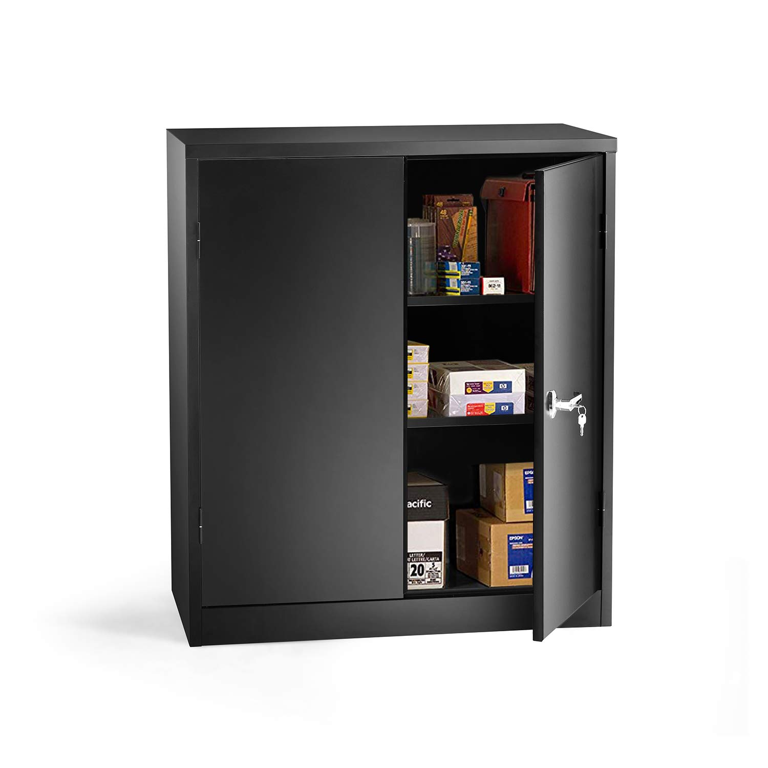 INVIE Black Steel Snapit Storage Cabinet with 2 Adjustable Shelves, Jumbo Storage Cabinet, Counter Height