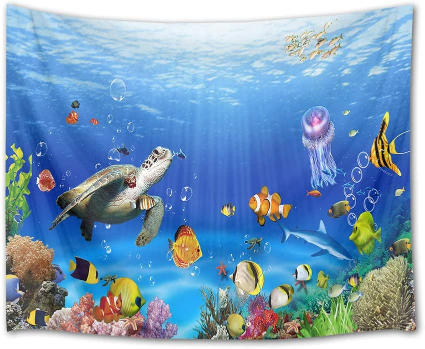 HVEST Sea Turtle Tapestry Tropical Fish Jellyfish and Coral Reef Under Blue Sea Wall Hanging Blanket Ocean Tapestries for Bedroom Living Room Dorm Decor,60Wx40H inches