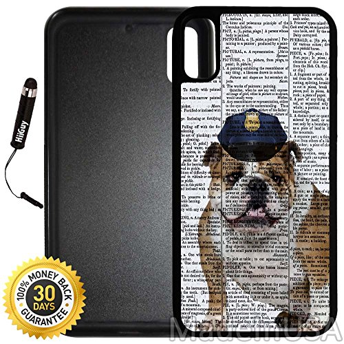 Custom iPhone X Case (English Bulldog Police Cap) Edge-to-Edge Rubber Black Cover with Shock and Scratch Protection | Lightweight, Ultra-Slim | Includes Stylus Pen by INNOSUB