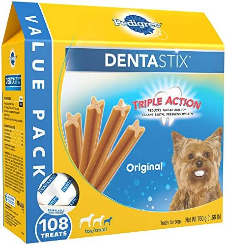 PEDIGREE DENTASTIX Toy/Small Dog Dental Treats Original Flavor Dental Bones, 1.68 lb. Value Pack (108 Treats)