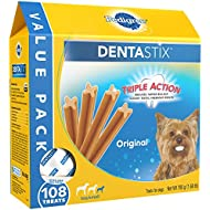 PEDIGREE DENTASTIX Toy/Small Dog Chew Treats, Original, 108 Treats