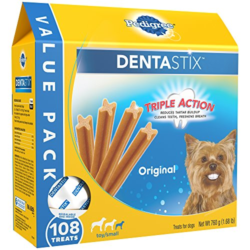 PEDIGREE DENTASTIX Toy/Small Dog Dental Treats Original Flavor Dental Bones, 1.68 lb. Value Pack (108 Treats)