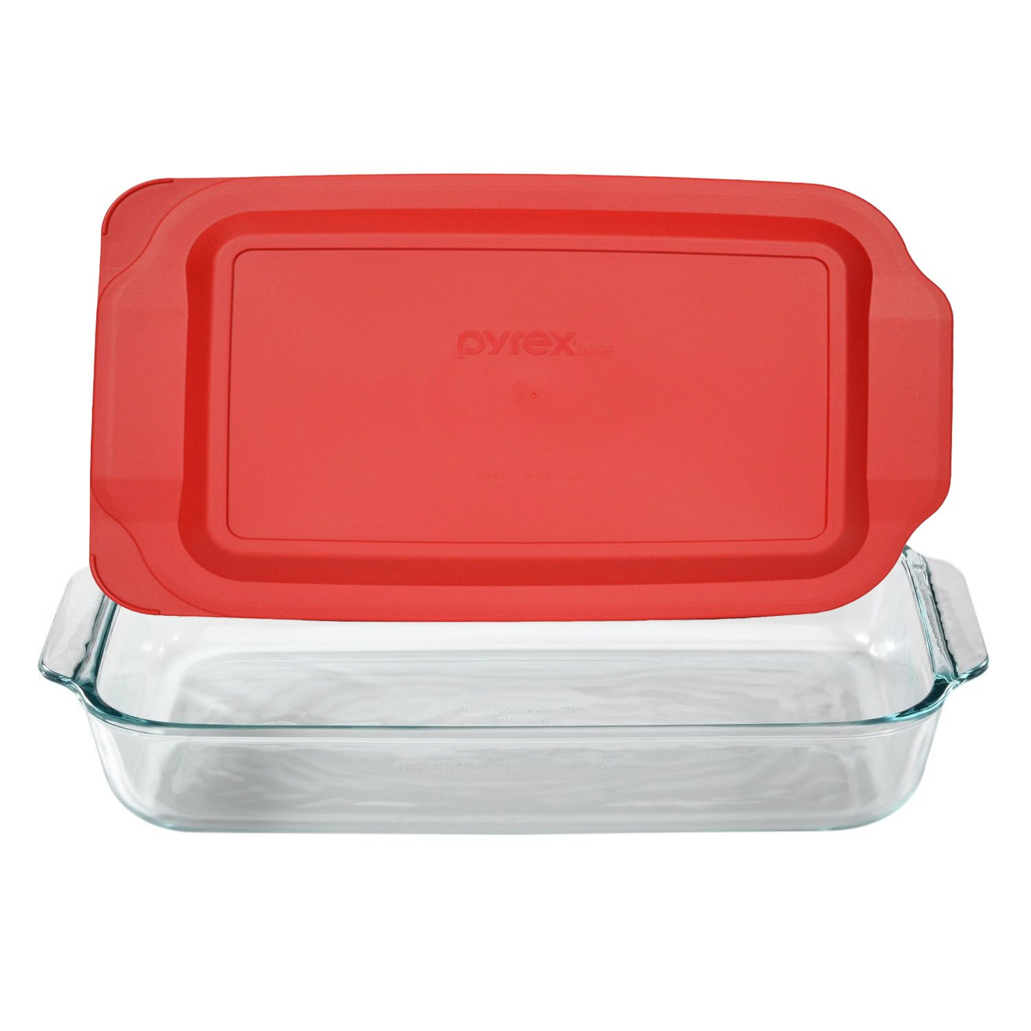 Pyrex Basics 3 Quart Glass Oblong Baking Dish with Red