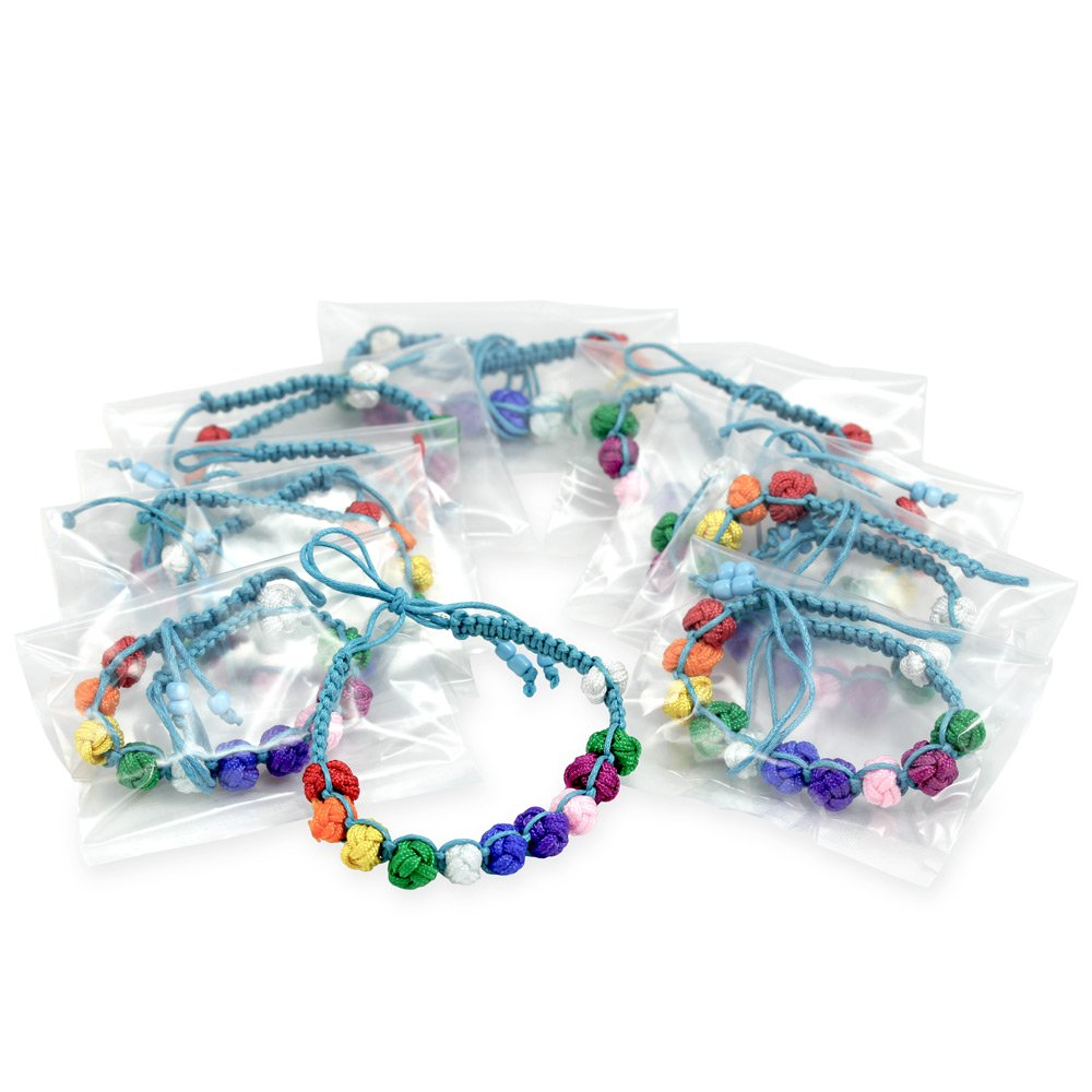 RosaryMart First Communion Favor with 10 Multicolored Bracelets with Light Blue String