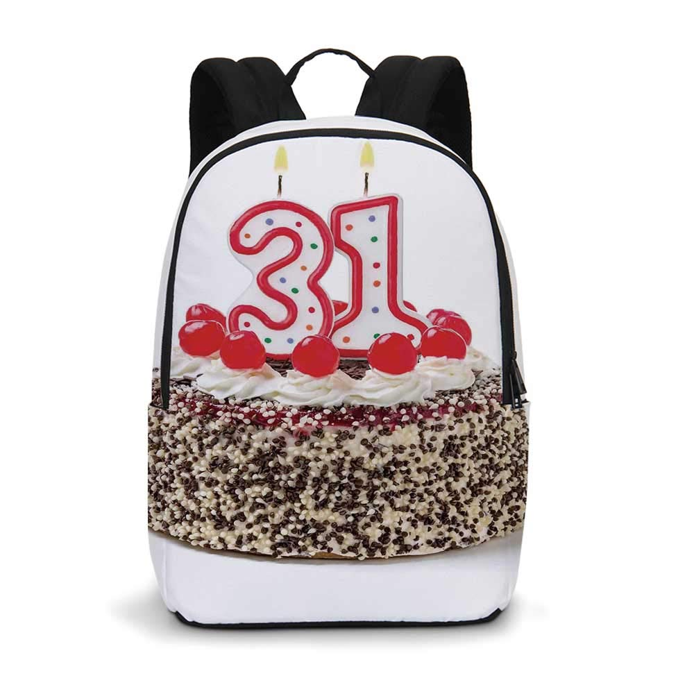 31st Birthday Decorations Modern simple Backpack,Cake Thirty One Candles Chocolaty Desert Cherries Surprise Event for school,11.8''L x 5.5''W x 18.1''H