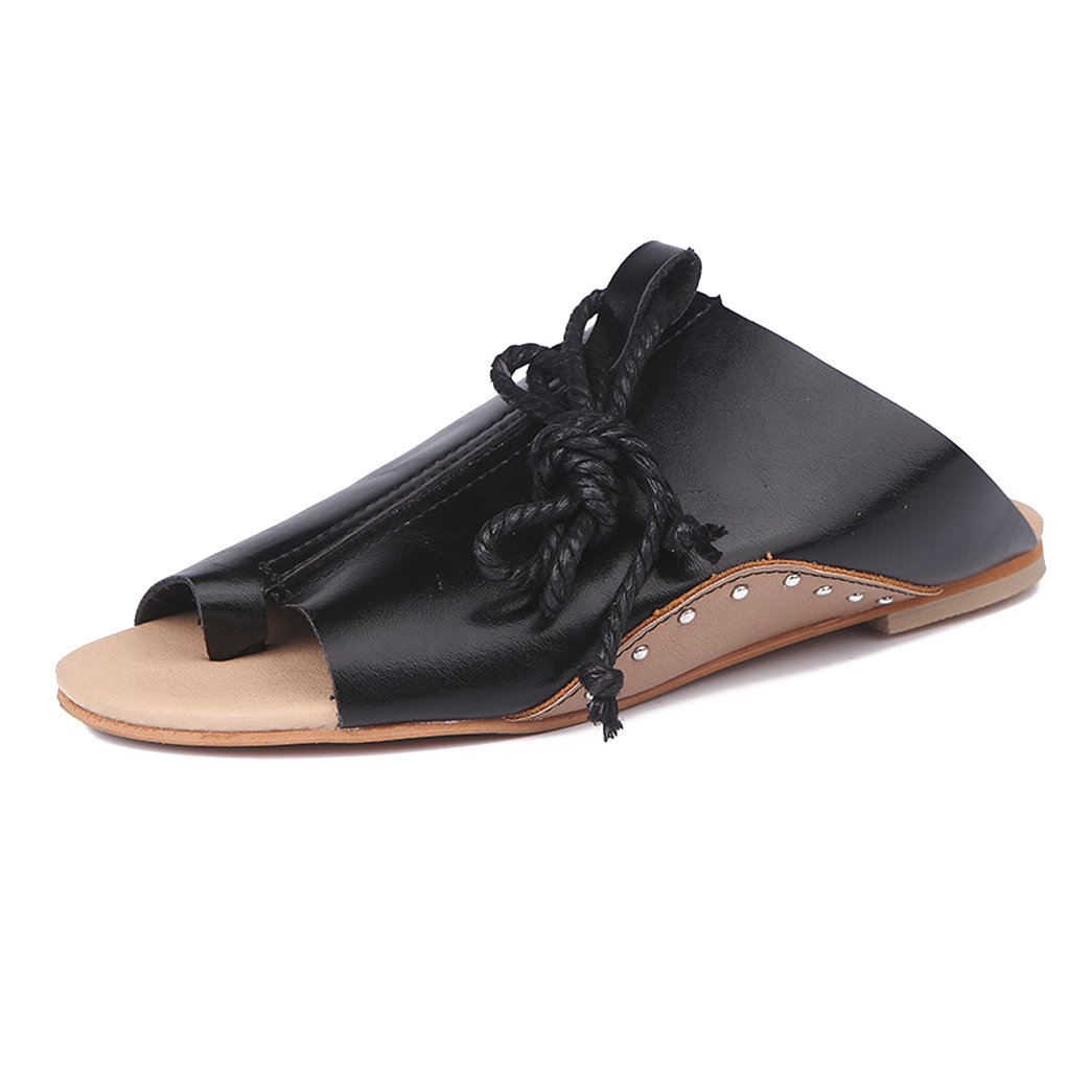 Kootk Femmes Sandales Plate Romain Strappy Chaussures Été Chaussures Chaussure Été Herringbone Chaussures Clip Toe Sandales Strappy Lanière Chaussures Noir 9a0a0ab - robotanarchy.space