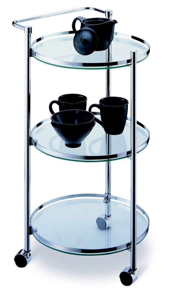 Organize It All Rolling 3 Tier Glass Circular Serving Cart Inc. 62943W
