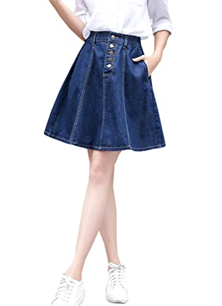 purchase authentic fine quality better Only Faith Women High Waist A-line Denim Skirt Short Denim ...