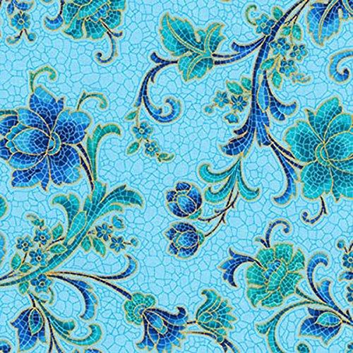 Robert Kaufman Villa Romana Mosaic Blue Floral Vine Scroll (Roman Scroll)