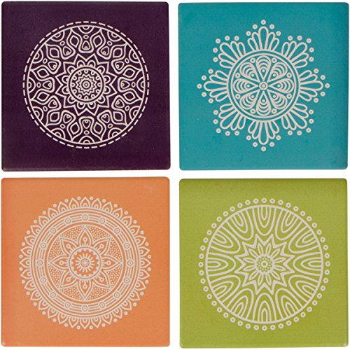 Planet Ethnic Colorful Mandala Circles Designer Ceramic Coaster Set (4 coasters, each almost 4 X 4 inches) with matching wooden coaster holder.