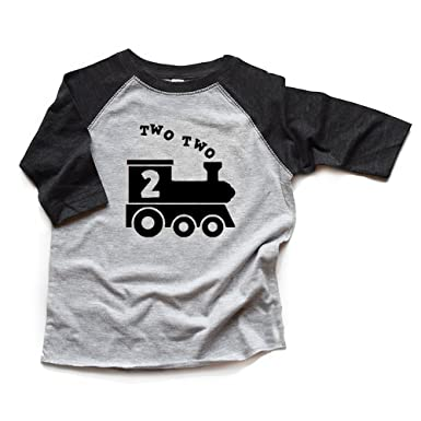 Two Train 2nd Birthday Shirt Boy Second Bday Toddler Raglan Trendy 2 Heads Up Shirts