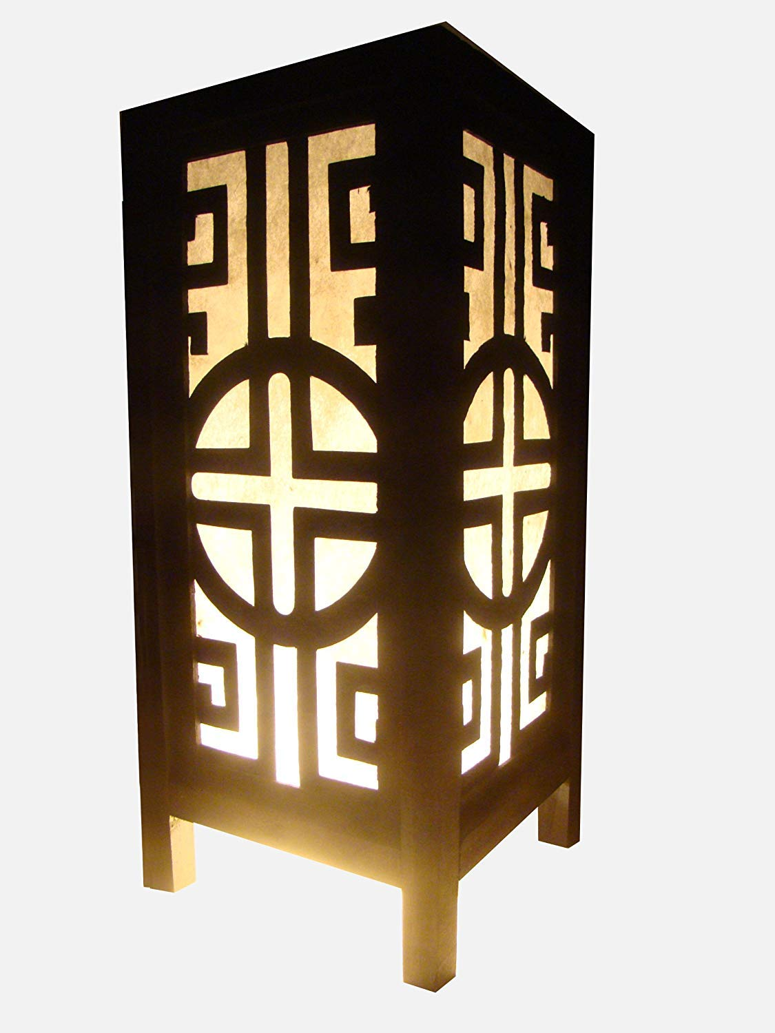 Thai Vintage Handmade Asian Oriental Classic China Black White Bedside Table Light or Floor Wood Paper Lamp Shades Home Bedroom Garden Decor Modern Design from Thailand by Red berry Thailand Lanna Lamp