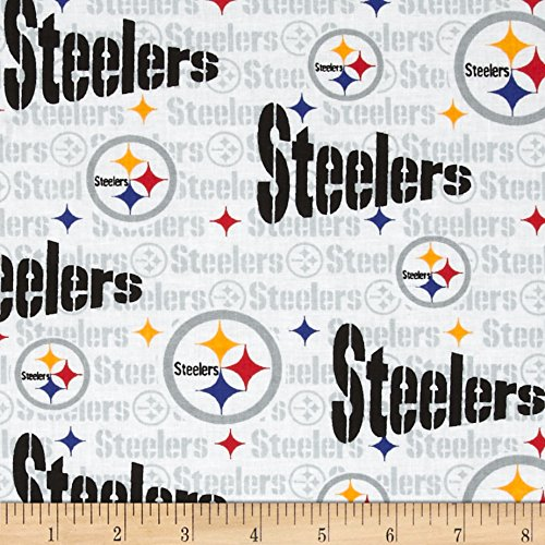 NFL Cotton Broadcloth Pittsburgh Steelers White/Multi Fabric By The Yard from SteelerMania